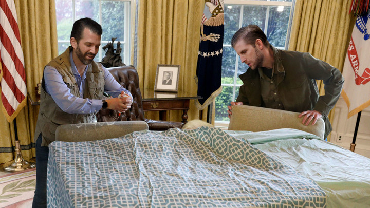 'They Can't Impeach Someone They Can't See,' Say Trump Boys Cramming Dad Into Homemade Bunker Under Oval Office Desk