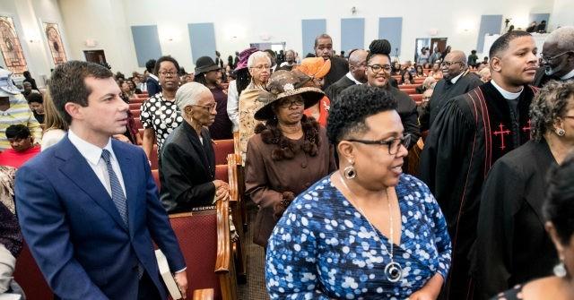 Buttigieg visiting a black church