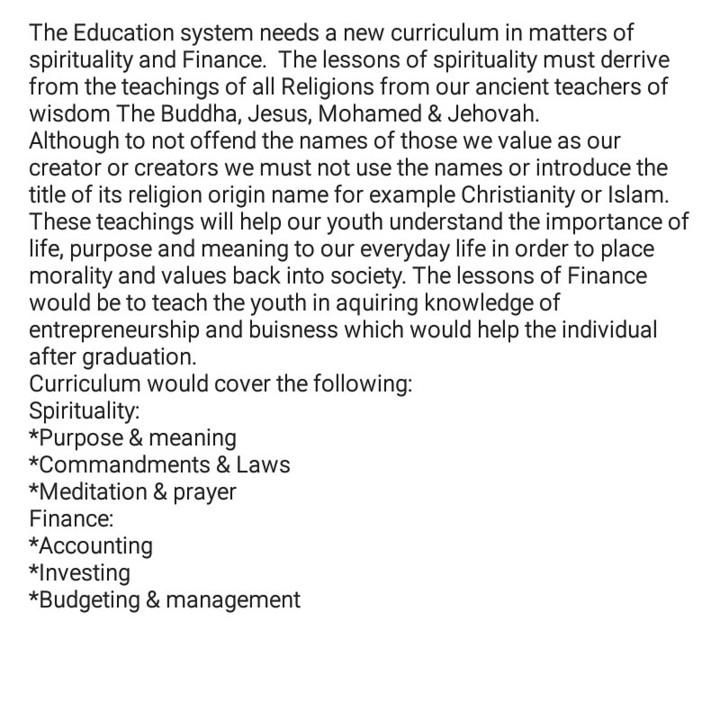 New Education curriculum