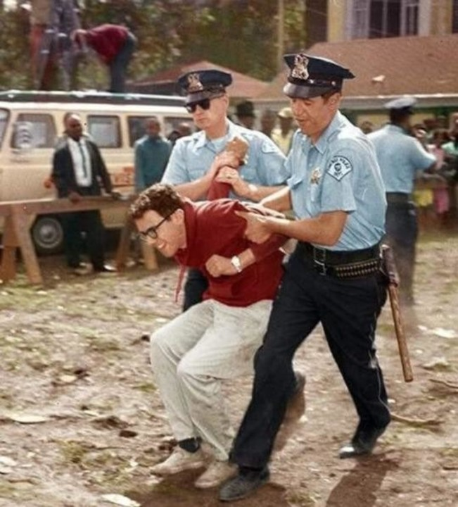 Bernie Sanders getting arrested for protesting against segregation in the 60s