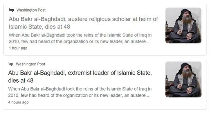 Washington Post changes its headline for al-Baghdadi's obituary