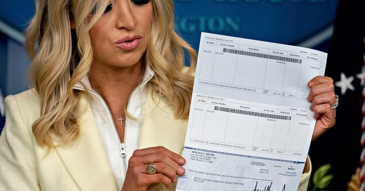 Trump's Press Secretary Displays One of His Checks in a Little Too Much Detail