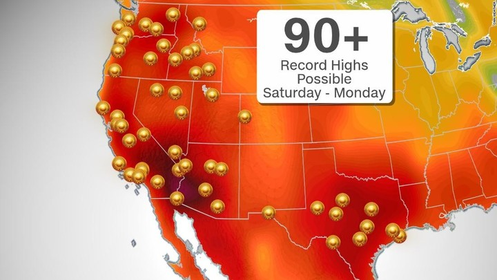 Expect record heat from California to Texas this weekend