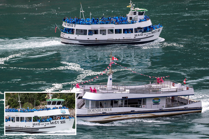 US tourist boat at Niagara Falls is packed with people while those on Canadian vessel next to it are socially distanced