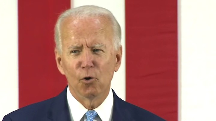 He emerges to speak after hiding for 89 days. Biden says he won't hold rallies due to coronavirus