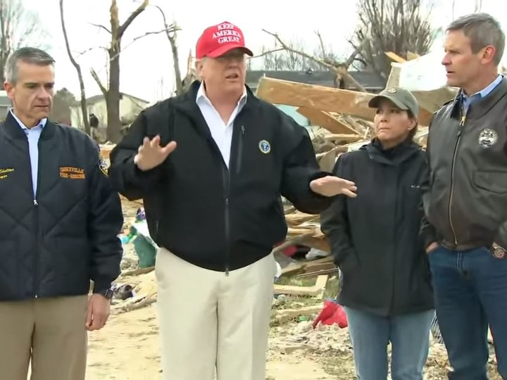 Trump accused of lack of emotion after being told about 8-year-old boy's family being killed in tornado