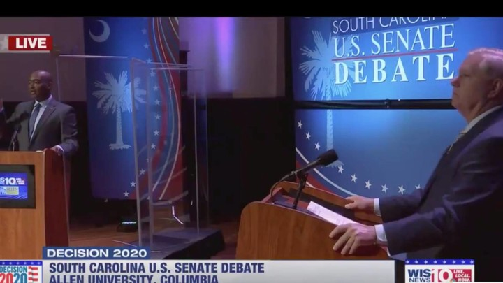 Lindsey Graham's Democratic Opponent Takes Him to Task From Behind a Plexiglass Shield