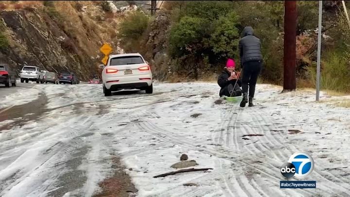 Winter storm brings rare snowfall to Malibu