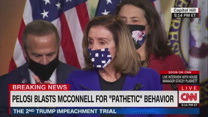 'Cowardly': Pelosi Crashes Dem Presser to Blast McConnell For Speech Justifying Vote to Acquit Trump