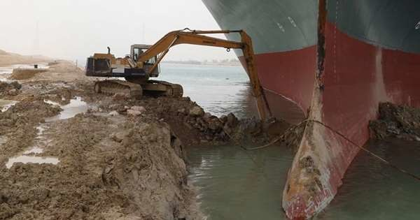 Releasing Container Ship From Suez Canal Could Capsize It