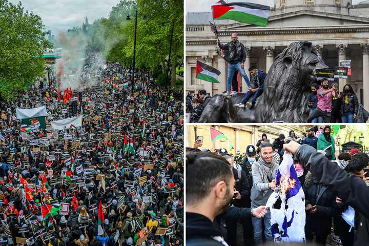 Anti-Semitic chants plague Pro-Palestine protests as flag burnt & 7 arrested