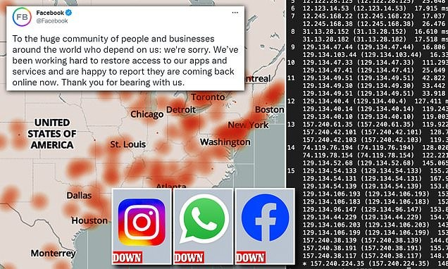 Facebook and Instagram restoring service after seven hour outage